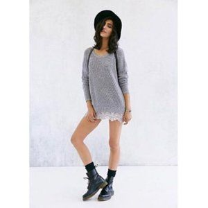 UO Pins and Needles Sweater Oversized Lace Gray XS